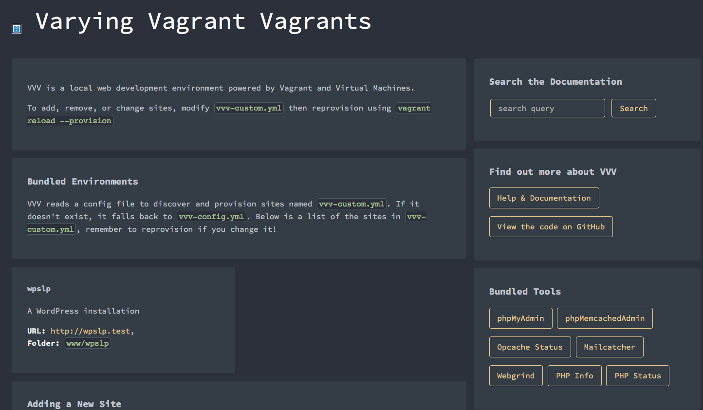 The VVV2 dashboard with custom sites